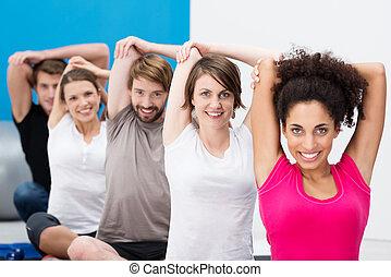 gymnase, amis, aérobic, ensemble