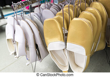 gymnase, blanc, magasin, chaussures, or