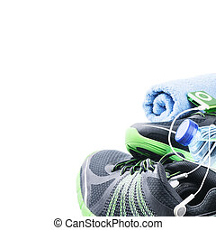 gymnase, chaussures sport, accessoires