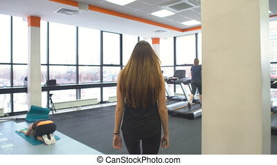 gymnase, dehors, girl, fonctionnement, tapis roulant