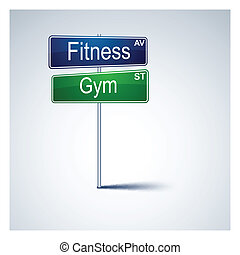 gymnase, direction, signe., route, fitness