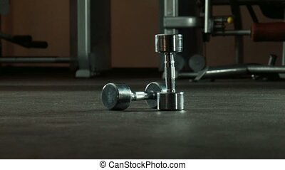 gymnase, dumbbells, deux