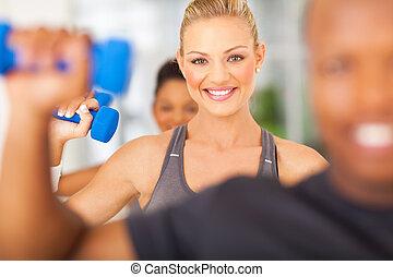 gymnase, dumbbells, exercice, femme