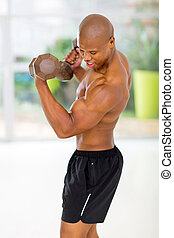 gymnase, dumbbells, exercisme, homme, africaine