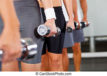 gymnase, dumbbells, groupe, gens