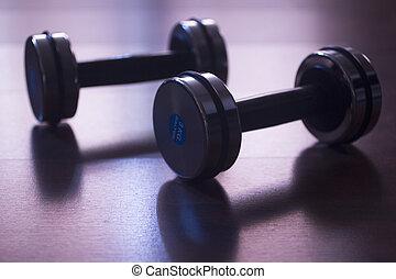 gymnase, dumbell, poids, fitness