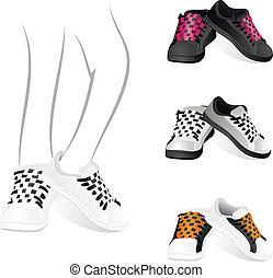 gymnase, ensemble, chaussures