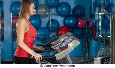 gymnase, exercice, tapis roulant