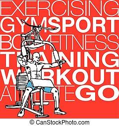 gymnase, exercisme, illustration, machine, musculaire, lat, homme