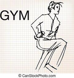 gymnase, femme, dumbbells, levage, illustration
