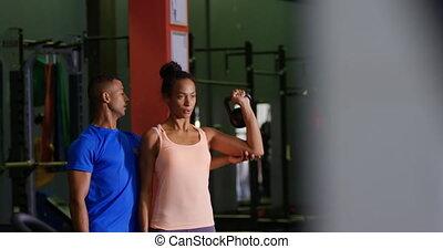 gymnase, femme, exercisme