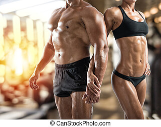 gymnase, femme, muscled, homme