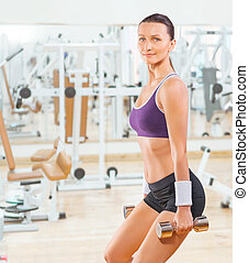gymnase, femme, poids, levage, sports