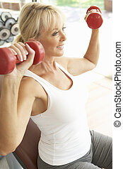 gymnase, femme, poids, personne agee, fonctionnement