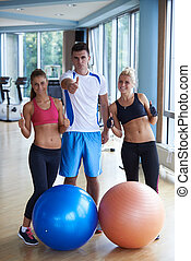gymnase, gens, groupe, fitness