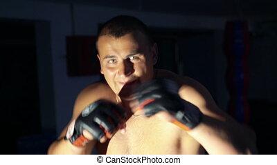gymnase, haut, boxeur, 4k, trains, frapper, fin, bag-, mannikin