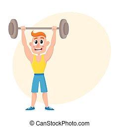 gymnase, jeune, accroupissement, exercices, sport, barre disques, homme