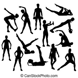 gymnase, sport, silhouette, fitness