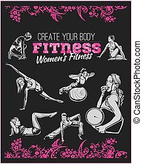 gymnase, -, vecteur, fitness, womens, stockage