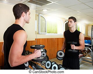 gymnase, weigths, jeune, poser, musculation, homme