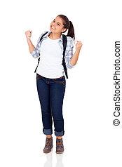 gymnasium, aufgeregt, weiblicher student
