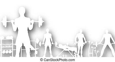 Gymnasium cutout - Editable vector cutout of people...