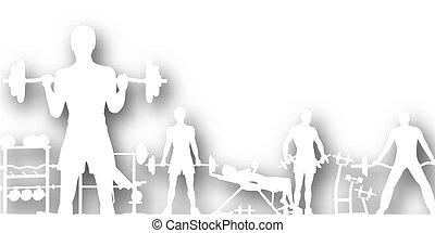 Gymnasium cutout - Editable vector cutout of people...