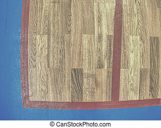 Gymnasium floor. Empty basketball court with line outdoor public. Reflection in wood surface