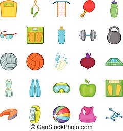 Gymnasium icons set, cartoon style