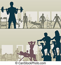 Gymnasium - Two editable vector silhouettes of people...