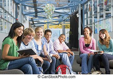 gymnasium, klasse, schulkinder