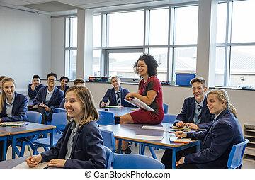 gymnasium, lektion, glücklich