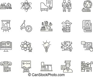 Gymnasium line icons, signs, vector set, outline illustration concept