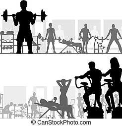 Gymnasium - Two editable vector silhouettes of people ...