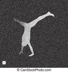Gymnast. 3D Human Body Model. Black and white grainy dotwork...