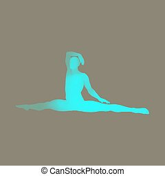 Gymnast. 3D human body model. Man doing yoga or pilates exercise.