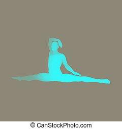 gymnast., 3d, menschlicher körper, model., mann, machen, joga, oder, pilates, exercise.