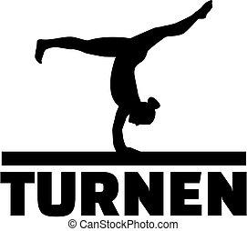 Gymnast at balance beam with german word for gymnastics