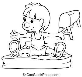 Gymnast - Black and White Cartoon Illustration, Vector