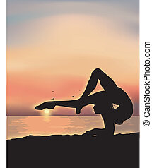 Gymnast exercising near the sea