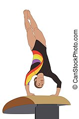 gymnast female inverted on a vaulting horse isolated on a white background