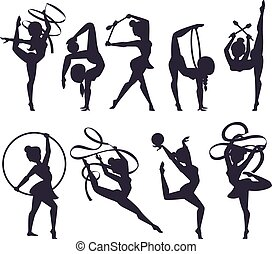 Gymnast girl vector illustration - Girl figures performing ...