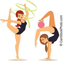 Gymnast girl vector illustration - Girl figures performing...