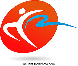 Gymnast icon / logo - 2 - Abstract outline of a gymnast with...