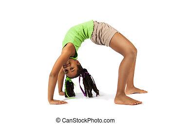 gymnast, jonge, vrijstaand, artistiek, baby, brug