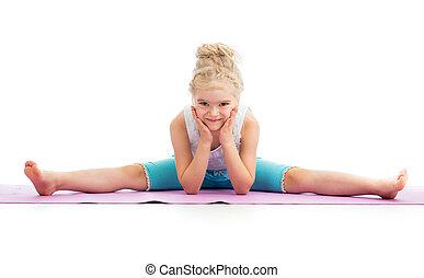 Gymnast kid girl isolated