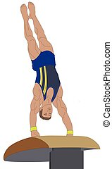 gymnast male inverted on a vaulting horse isolated on a white background
