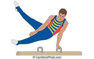 gymnast male swinging legs over pommel horse isolated on a white background