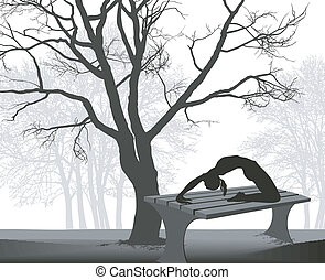 Gymnast on a table in in the park