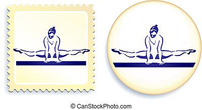Gymnast on button and stamp set Original Vector Illustration...